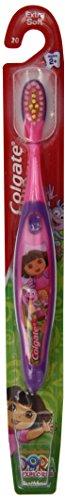 Cepillo de dientes Colgate, Dora el explorador, Extra suave, mayores de 2 años, cepillos de dientes Manual, (paquete de 6)