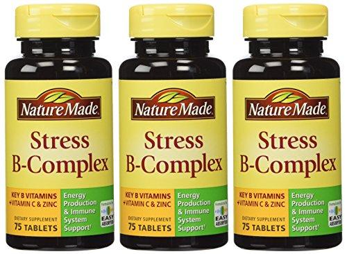 Naturaleza del complejo estrés B con C y Zinc tabletas 75 cuenta paquete de 3