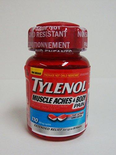 DOLORES musculares de TYLENOL y alivio del dolor corporal hasta 8 horas de dolores musculares, dolor de cuerpo y menstruales calambres 650 mg 110 cápsulas