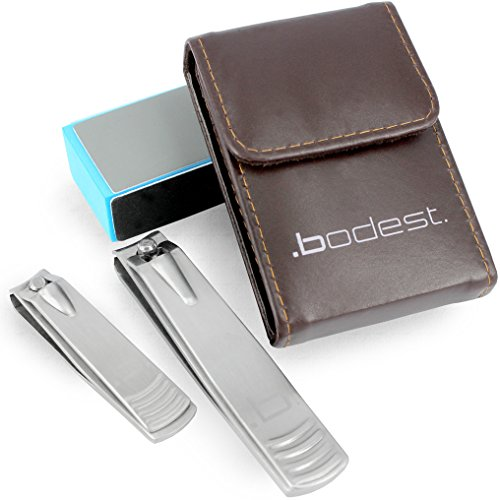 Uñas Set de tijeras de 2 acero inoxidable para hombres y mujeres como una cartera de almacenamiento de información de bono y el bloque de clavo por Bodest - amplia apertura cuchillas afiladas para uñas y uñas de los pies.