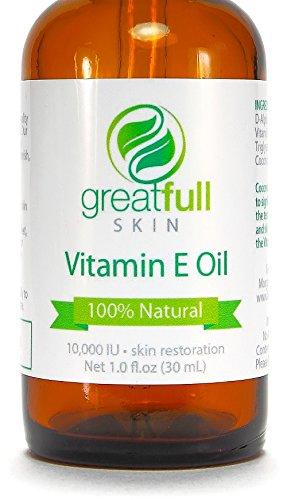 Aceite de vitamina E por GreatFull piel, 100% Natural - mejor manera de tratar la piel - 10000 UI, 1 onza