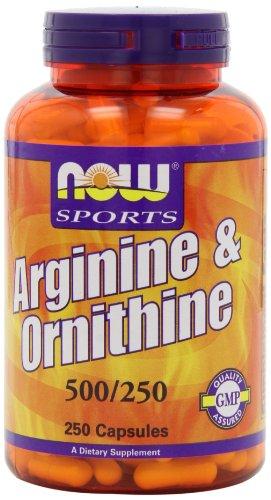 AHORA alimentos L-arginina/ornitina, 500mg / 250mg, (250 cápsulas)