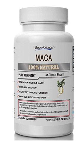 #1 Maca por laboratorios Superior - 100% puro, 750mg, 120 cápsulas vegetales - Made In USA, 100% garantía de devolución de dinero