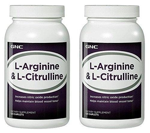 GNC L-arginina y L-citrulina--2 botellas cada uno de 120 pastillas