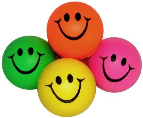 Cara de la sonrisa mini de neón relajable bolas (1 Dz) colores surtidos