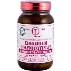 OLYMPIAN LABS, 200mcg de cromo polinicotinato ChromeMate - 100 caps