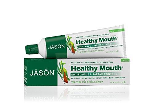 JASON boca sana crema dental Gel con fluoruro, aceite de árbol de té y canela, 6 onzas