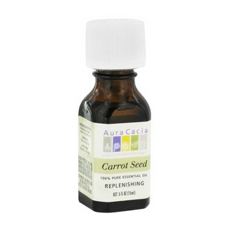 Aura Cacia esencial Zanahoria Aceite de semilla de 0,5 Oz, Anti Envejecimiento Rellenador, paquete de 2