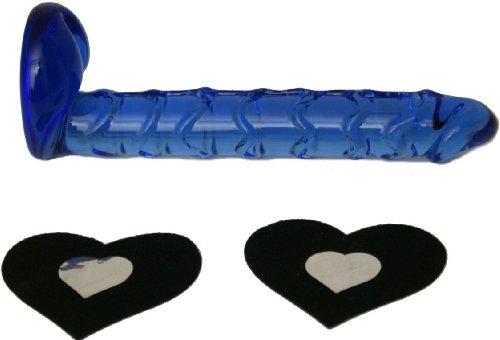 Sexitu negro corazón cubre pezón y 7.5: consolador de vidrio