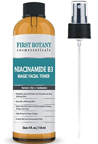 Primera botánica niacinamida vitamina B3 magia Toner 4 fl. oz acné lucha contra efecto, efecto de aligeramiento de la piel y efecto de prevención de la pérdida de agua