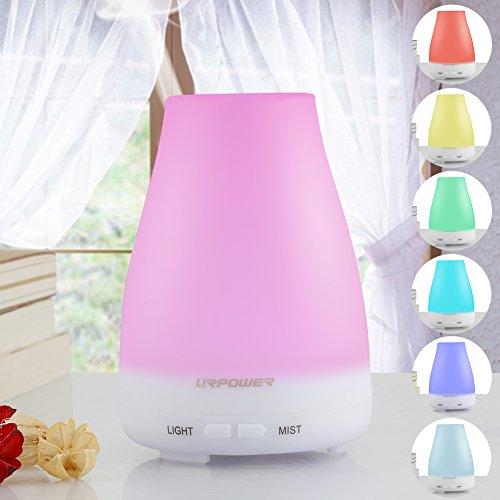 Difusor del aceite esencial, URPOWER ® Aromaterapia difusor Aroma ultrasónico portátil humidificador con 7 lámparas LED cambio de Color, de la niebla del modo ajuste sin agua Auto Shut-off función y - para el hogar oficina