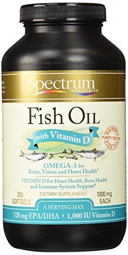Aceite de pescado esencial de espectro con cápsulas de vitamina D, 250 cuenta