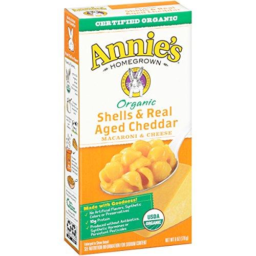De Annie granadas de cosecha propia y Real de años Mac Cheddar y queso, cajas de 6 onzas (Pack de 12)