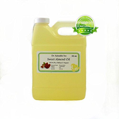 Almendra dulce aceite orgánico puro frío presionado por Dr.Adorable 32 Oz/1 cuarto