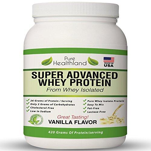 Mejor sabor de proteína de suero aislar sabor a vainilla polvo dieta suplementos para hombres, mujeres y adultos mayores. Polvo de proteína orgánica. Libre de grasa. Proteína de suero libre de lactosa. Toda proteína de suero puro Natural