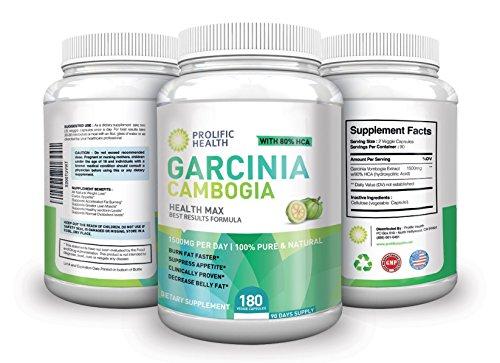 80% 100% fuerza máxima pura de HCA Garcinia Cambogia Premium extracto - 180 cuenta (90 días de suministro) - 3.000 mg diarios - suplemento para bajar de peso y supresor del apetito Natural todos. Made In USA!
