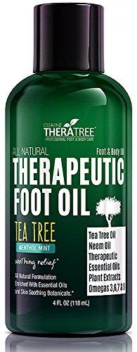 Aceite - calmante mentol menta - aceite del árbol del té y Neem - ayuda con antihongos, pie de atletas, del dedo del pie hongo, olor de los pies - tonificante cuidado hielo para el dolor, los pies cansados, doloridas de pies