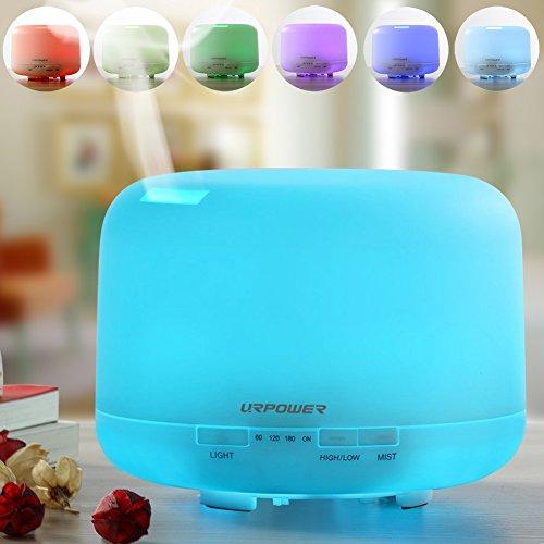 URPOWER 500ml aromaterapia aceites esenciales difusor ultrasónico humidificador de aire con 4 temporizador ajustes 7 LED Color cambiando lámparas, 10 horas continua funcionando de modo de niebla - apagado automático