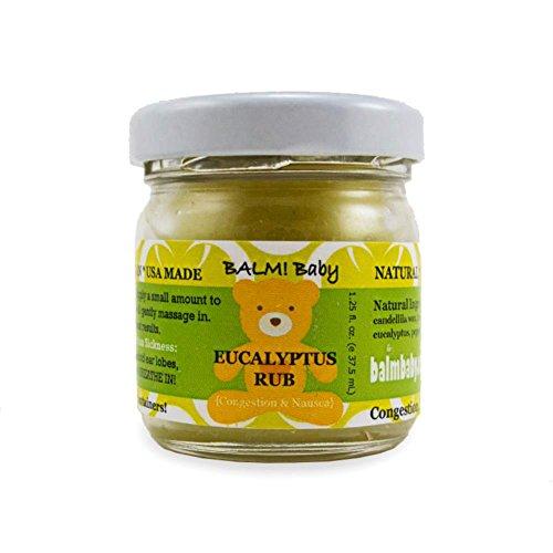 BÁLSAMO! FROTACIÓN de eucalipto - Natural frotar pecho y barriga para nariz congestionada y pechos y náuseas - frasco de vidrio de 1.25 oz {Made in USA!} para bebés