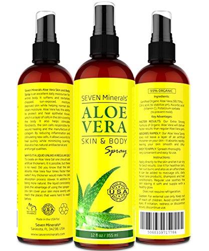 SPRAY de Aloe Vera para la cara, piel y cabello - 99% orgánica, Made in USA, Big 12 oz - EXTRA fuerte - ver resultados o devolución del dinero - fácil de aplicar - No espesantes por lo que absorbe rápidamente con ningún residuo pegajoso.