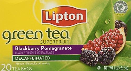 Bolsas de té de Lipton té verde descafeinado, superfrutas Blackberry y Granada, paquetes de 20-Count (paquete de 6)