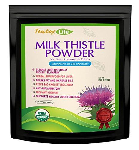 Polvo de cardo de leche superior: Limpieza de hígado orgánica y asistencia Hecho en U.S.A| USDA certificado
