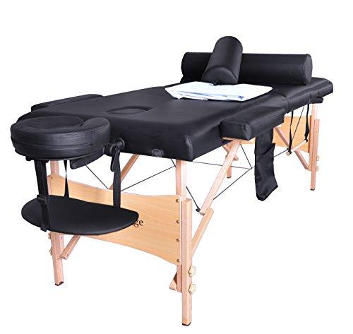 Negro Portable masaje Facial Spa cama de la tabla W/hoja cuna tapa 2 reforzar suspensión