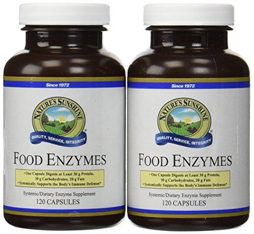 Sol alimentos enzimas apoya sistema digestivo 120 cápsulas de la naturaleza (paquete de 2)