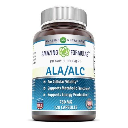 Amazing Formulas ALA - ALC (Ácido alfa lipoico - acetil-L-carnitina) dietética Supplement- 750 mg 120 Cápsulas