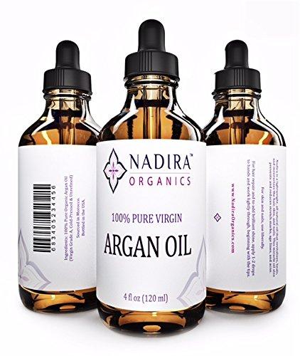 Nadira orgánicos aceite virgen de Argan para la piel, cara, pelo y clavos, 4 fl. oz.