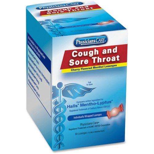 PhysiciansCare con sabor a cereza tos/dolor garganta pastillas (comparar a salas), 50 pastillas - tos - menta, cereza - 50 / caja