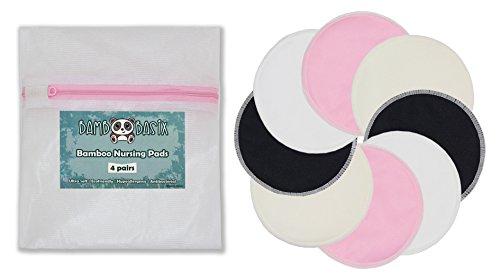 Ultra-soft bambú lavable ALMOHADILLAS - 4 pares de enfermería (8 Pack) + bolso del lavadero; Almohadillas Super absorbentes, impermeables, proof, respetuoso del medio ambiente para las madres la lactancia materna