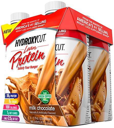 Hydroxycut Lean batido de proteína, Chocolate con leche, botellas de 11 onzas, cuenta 4