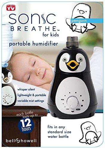 Bell + Howell pingüino diseño Personal portátil humidificador ultrasónico para niños y bebés - vapor frío - dura hasta 12 horas por la botella de agua
