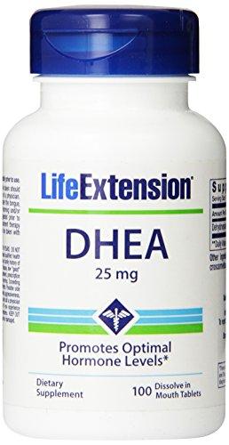 Vida extensión DHEA, 25 Mg, 100 tabletas de disolución
