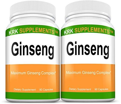 2 botellas Ginseng 1000mg por porción de extracto de Ginseng coreano 180 cápsulas Total KRK suplementos de Ginseng Panax Eleutherococcus Senticosus