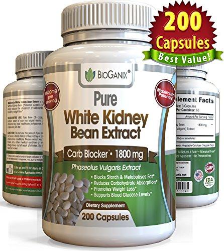 100% puro Extracto de frijol blanco 1800 mg (200 cápsulas) mejor 2 fase de carbohidratos y grasa bloqueador y almidón interceptar suplemento para pérdida de peso (más potente que la 500mg, 1000mg o 1.500 mg, en polvo o líquido)