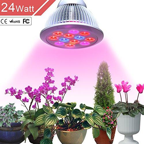 Outtled LED crece la luz 12W/24W, más eficiente hidropónico LED planta crecer luces E27 lámpara de cultivo de invernadero de jardín en 3 mejores bandas de combinación creciente (rojo 660nm y 630nm y 460nm azul) (24W)