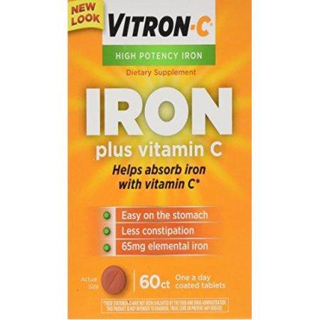 Paquete de 4 Vitron C una vez al día de Alta Potencia hierro y vitamina C comprimidos 60 cuentan cada