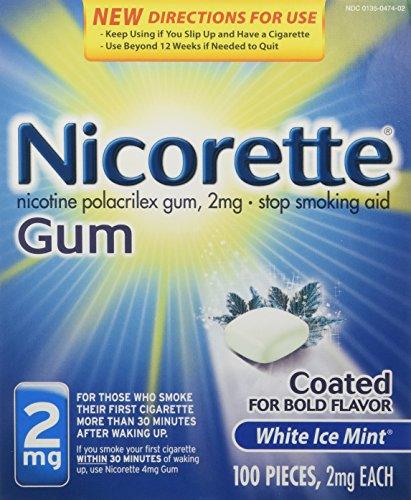 Nicorette OTC dejar de fumar nicotina chicle, hielo 2mg-blanco menta-100 ct.