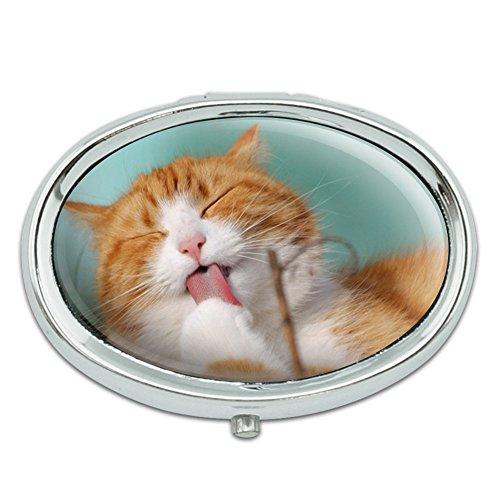 Lindo gatito gato baño Metal Oval caso pastillero