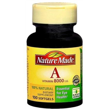 3 Pack - Vitamina A Nature Made UI 8000 Cápsulas 100 cápsulas de gel