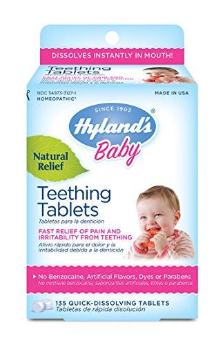 Tabletas para la dentición de Hyland's bebé, 67 dosis de dolor de dentición bebé Natural y relieve de irritabilidad, cuenta 135