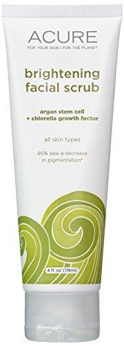 Acure Argan sustancias orgánicas celulares + Chlorella Growth Factor brillo Facial friega, 4 oz