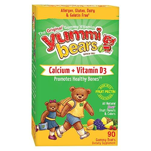 Yummi osos vegetarianos calcio + vitamina D3 suplemento para niños, 90 osos Gummy