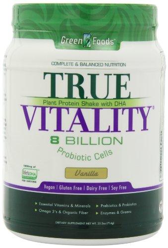 Alimentos verdes verdadera vitalidad batido de proteína vegetal, vainilla, onza 25,2