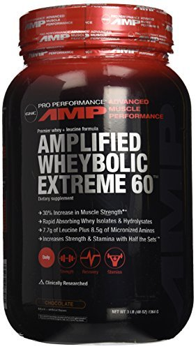 GNC Pro Performance AMP Amplified Whey Bolic Extreme 60 Original en polvo, Chocolate, 3 libras