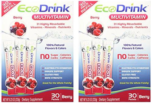 Ecodrink ® bebida multivitamínica Mix 60 paquetes - (sólo sabor BERRY)