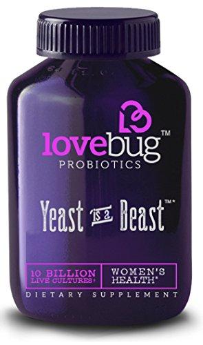 Probióticos de LoveBug ♥︎ levadura es una bestia ♥︎ salud de la mujer - tecnología patentada entrega de acción prolongada, con Cran-Ginecología y D-manosa. Suministro de 30 días. 10 billones de CFU/tablet