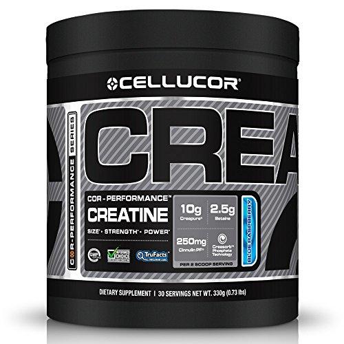 Polvo de suplemento creatina Cellucor Razz azul, 330 gramos